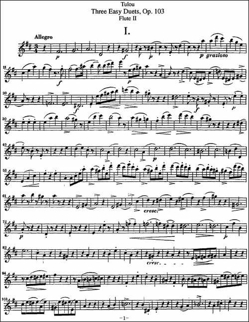 图露三首长笛简易重奏曲Op.103_Flute-2_NO.1_长笛五线谱|长笛谱