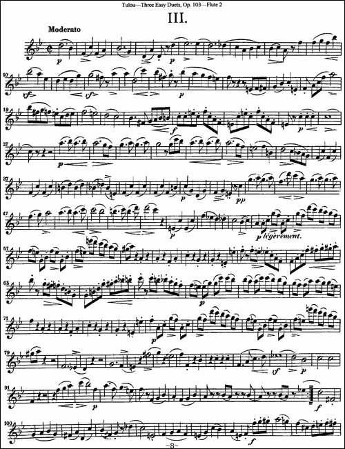 图露三首长笛简易重奏曲Op.103_Flute-2_NO.3_长笛五线谱|长笛谱