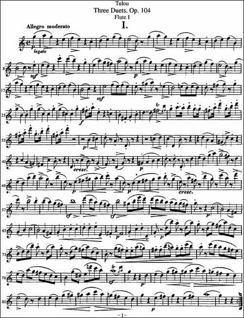 图露三首长笛简易重奏曲Op.104_Flute-1_NO.1_长笛五线谱|长笛谱