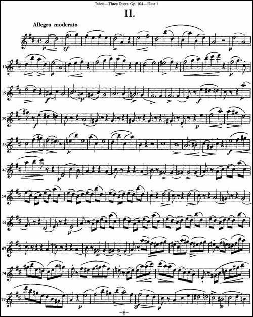 图露三首长笛简易重奏曲Op.104_Flute-1_NO.2_长笛五线谱|长笛谱