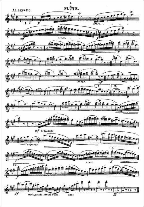 长笛五线谱 长笛
