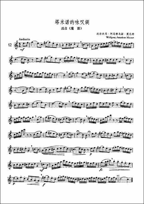 塔米诺的咏叹调_选自《魔笛》、独奏_长笛五线谱|长笛谱