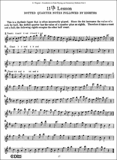 长笛演奏基础教程练习_11—20_长笛五线谱|长笛谱