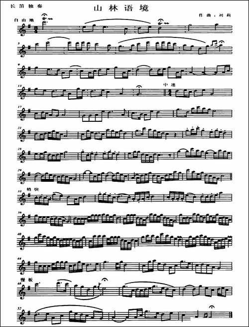 山林语境-长笛五线谱|长笛谱