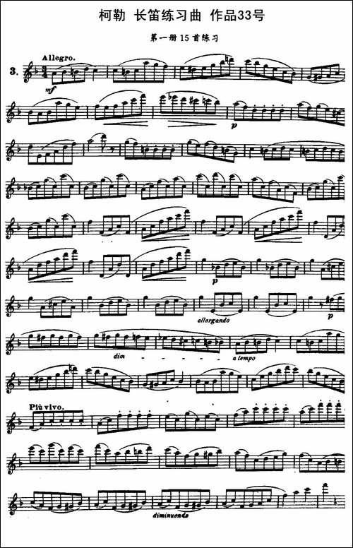 柯勒长笛练习曲作品33号-第一册-3-长笛五线谱 长笛谱