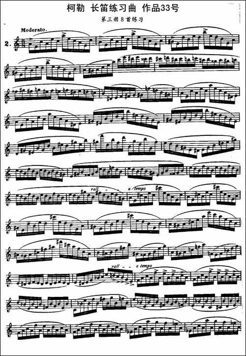 柯勒长笛练习曲作品33号-第三册-2-长笛五线谱 长笛谱