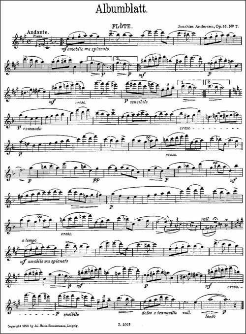 Albumblatt-Op.55-No.7-长笛五线谱 长笛谱