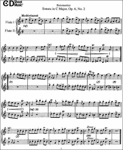 C大调双长笛奏鸣曲作品6号之2-Sonata-in-C-Maj-长笛五线谱 长笛谱