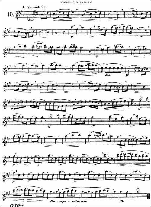二十首练习曲作品132号之10-长笛五线谱|长笛谱