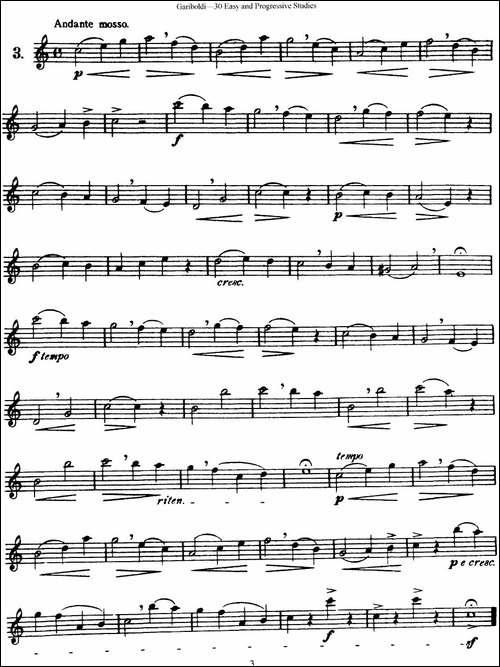 三十首基础及提高练习曲-NO.3-长笛五线谱|长笛谱