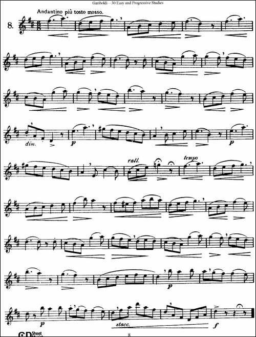 三十首基础及提高练习曲-NO.8-长笛五线谱|长笛谱