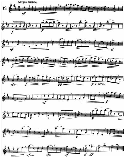 三十首基础及提高练习曲-NO.12-长笛五线谱|长笛谱