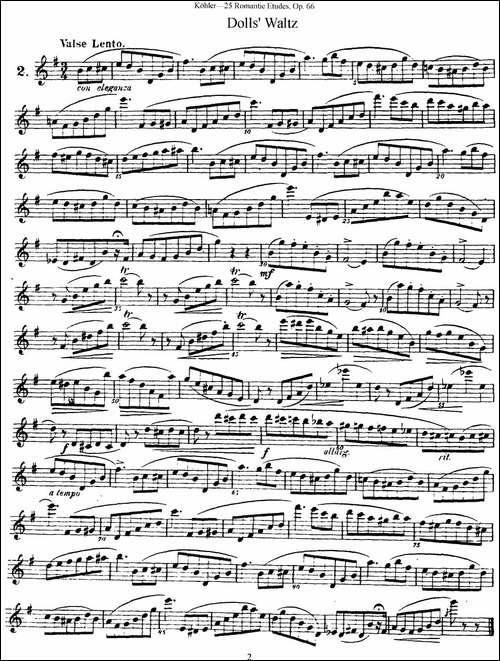 25首浪漫练习曲作品66号-NO.2-长笛五线谱|长笛谱
