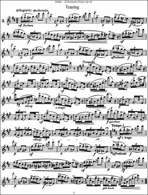 25首浪漫练习曲作品66号-NO.3-长笛五线谱|长笛谱