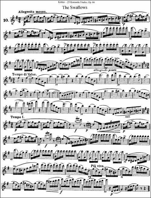 25首浪漫练习曲作品66号-NO.10-长笛五线谱|长笛谱