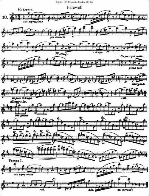 25首浪漫练习曲作品66号-NO.13-长笛五线谱|长笛谱