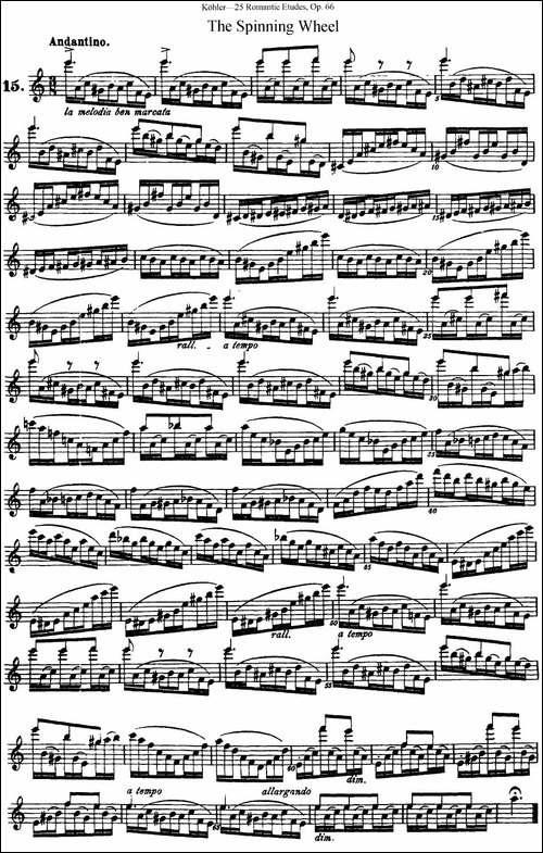 25首浪漫练习曲作品66号-NO.15-长笛五线谱|长笛谱