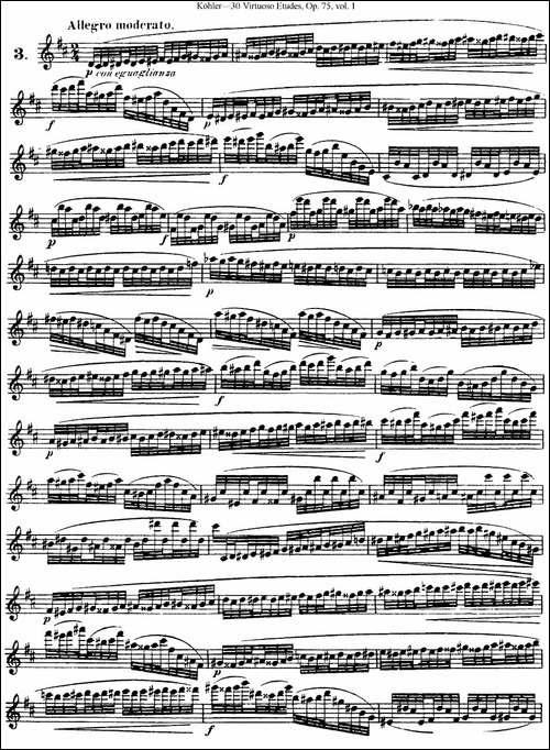 柯勒30首高级长笛练习曲作品75号-NO.3-长笛五线谱|长笛谱
