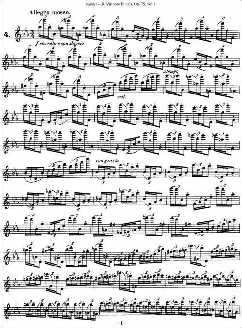 柯勒30首高级长笛练习曲作品75号-NO.4-长笛五线谱|长笛谱