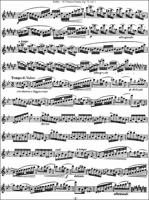 柯勒30首高级长笛练习曲作品75号-NO.5-长笛五线谱|长笛谱