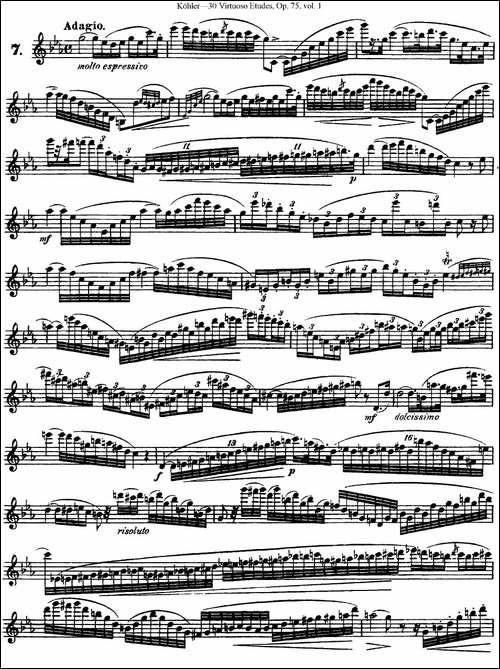 柯勒30首高级长笛练习曲作品75号-NO.7-长笛五线谱 长笛谱
