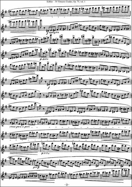 柯勒30首高级长笛练习曲作品75号-NO.10-长笛五线谱|长笛谱