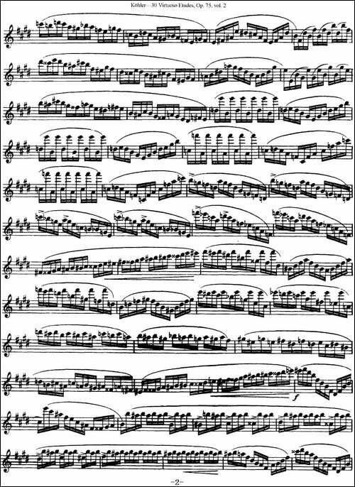 柯勒30首高级长笛练习曲作品75号-NO.13-长笛五线谱 长笛谱