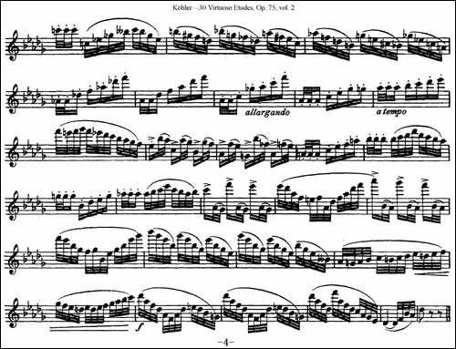 柯勒30首高级长笛练习曲作品75号-NO.15-长笛五线谱 长笛谱