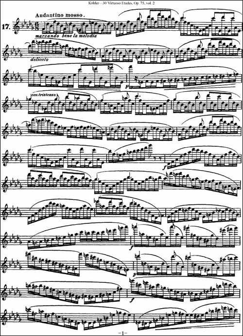 柯勒30首高级长笛练习曲作品75号-NO.17-长笛五线谱 长笛谱