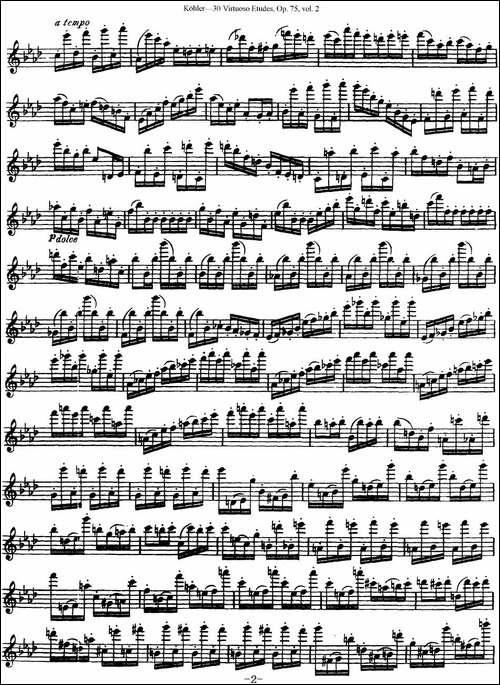 柯勒30首高级长笛练习曲作品75号-NO.19-长笛五线谱 长笛谱