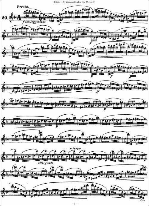 柯勒30首高级长笛练习曲作品75号-NO.20-长笛五线谱 长笛谱