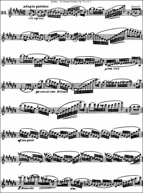 柯勒30首高级长笛练习曲作品75号-NO.23-长笛五线谱|长笛谱