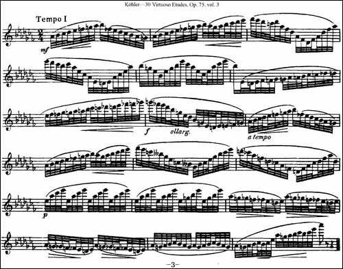柯勒30首高级长笛练习曲作品75号-NO.24-长笛五线谱 长笛谱