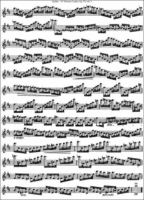 柯勒30首高级长笛练习曲作品75号-NO.26-长笛五线谱|长笛谱