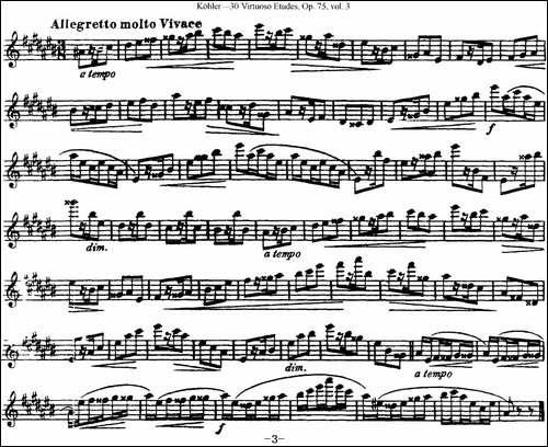 柯勒30首高级长笛练习曲作品75号-NO.28-长笛五线谱|长笛谱