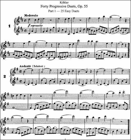柯勒40首长笛提高练习曲OP.55-NO.1-NO.2-长笛五线谱|长笛谱