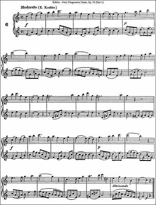 柯勒40首长笛提高练习曲OP.55-NO.6-长笛五线谱|长笛谱