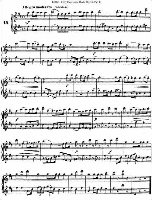 柯勒40首长笛提高练习曲OP.55-NO.14-长笛五线谱 长笛谱