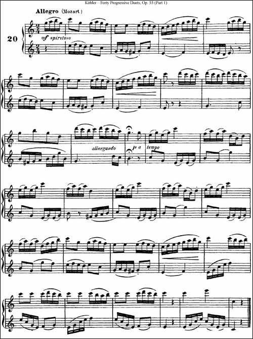 柯勒40首长笛提高练习曲OP.55-NO.20-长笛五线谱|长笛谱