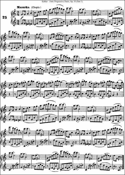 柯勒40首长笛提高练习曲OP.55-NO.25-长笛五线谱|长笛谱