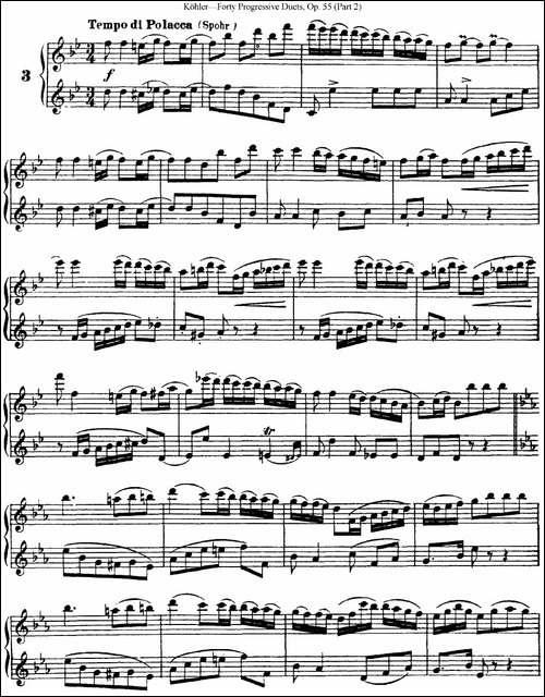柯勒40首长笛提高练习曲OP.55-二重奏-NO.3-长笛五线谱|长笛谱