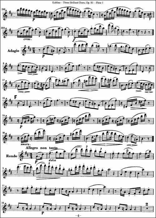 库劳长笛二重奏练习三段OP.81——Flute-1-NO.1-长笛五线谱|长笛谱