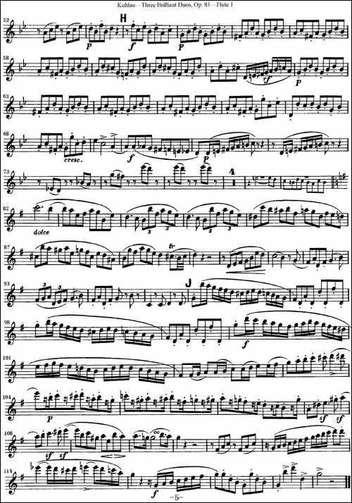 库劳长笛二重奏练习三段OP.81——Flute-1-NO.3-长笛五线谱 长笛谱