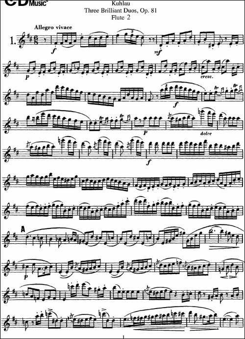 库劳长笛二重奏练习三段OP.81——Flute-2-NO.1-长笛五线谱|长笛谱