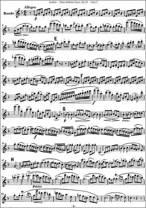 库劳长笛二重奏练习三段OP.81——Flute-2-NO.2-长笛五线谱|长笛谱