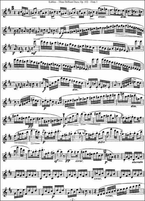 库劳长笛二重奏练习三段OP.102——Flute-1-NO.-长笛五线谱|长笛谱