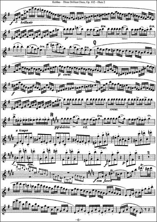 库劳长笛二重奏练习三段OP.102——Flute-2-NO.-长笛五线谱 长笛谱