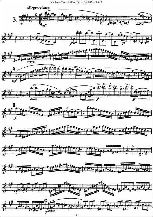 库劳长笛二重奏练习三段OP.102——Flute-2-NO.-长笛五线谱|长笛谱