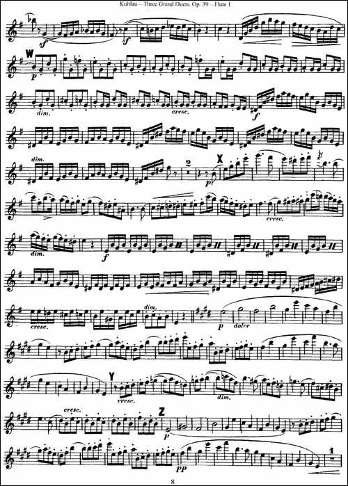 库劳长笛二重奏大练习曲Op.39——Flute-1-No.1-长笛五线谱|长笛谱