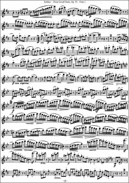 库劳长笛二重奏大练习曲Op.39——Flute-1-No.3-长笛五线谱|长笛谱